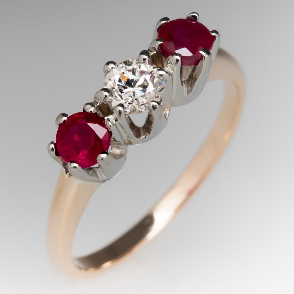 Three Stone Yellow Gold Ruby Diamond Ring