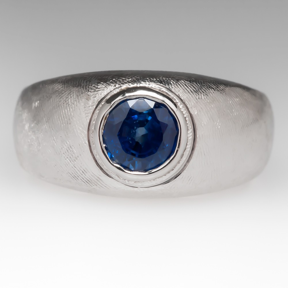 Mens Brushed Band Sapphire Pinky Ring