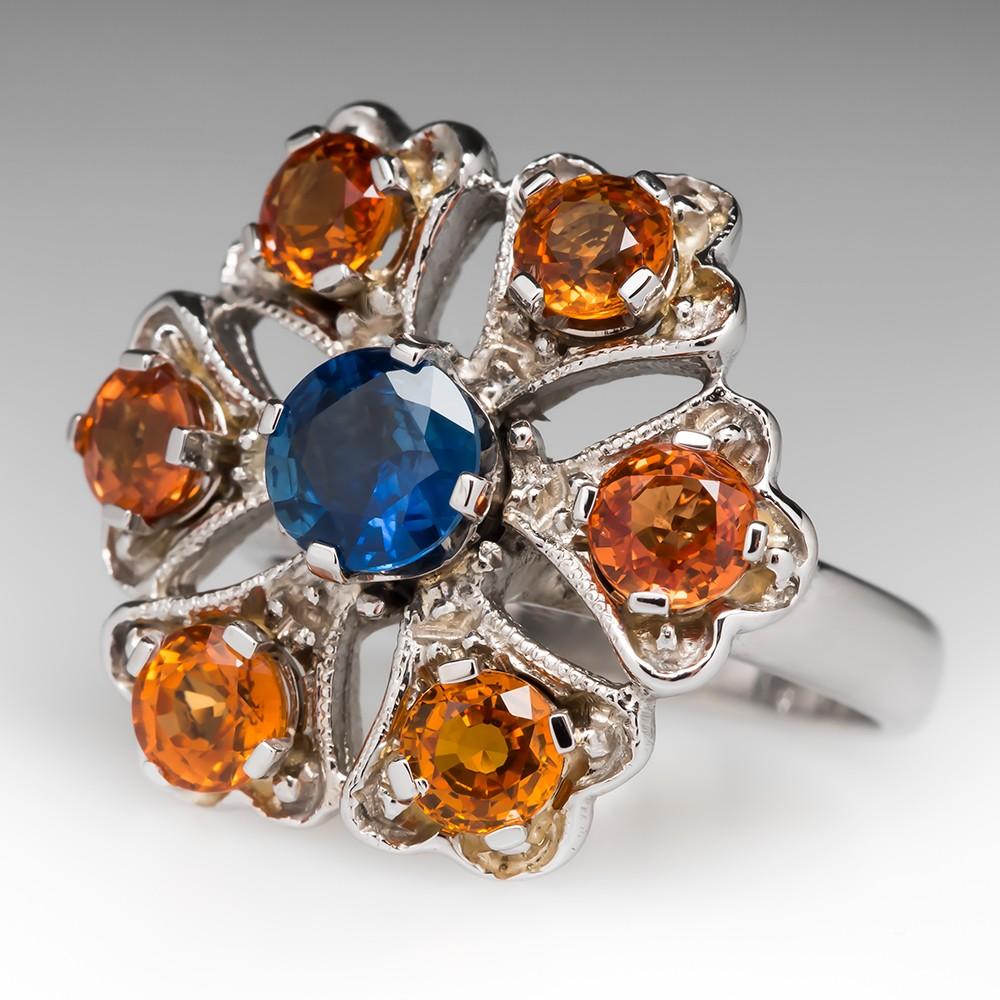 Captivating Blue & Orange Sapphire Cocktail Ring