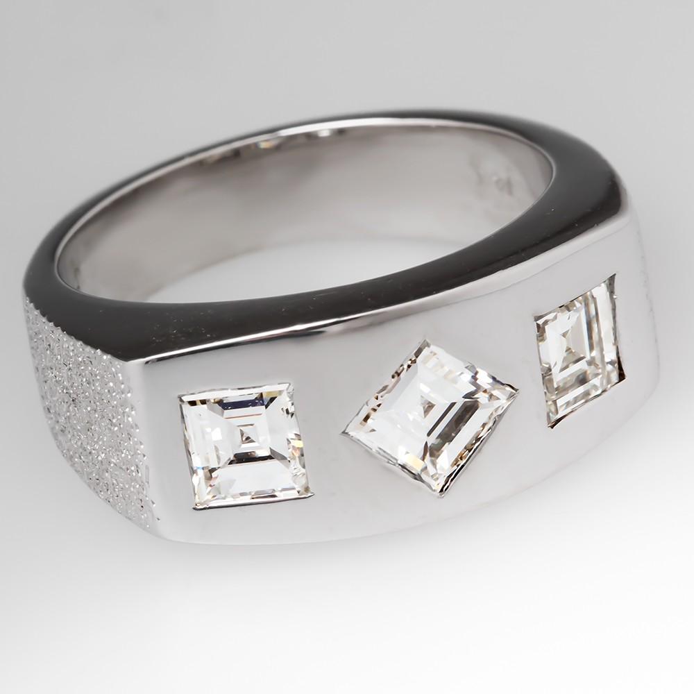 Retro Mens Square Flush Set Diamond Ring