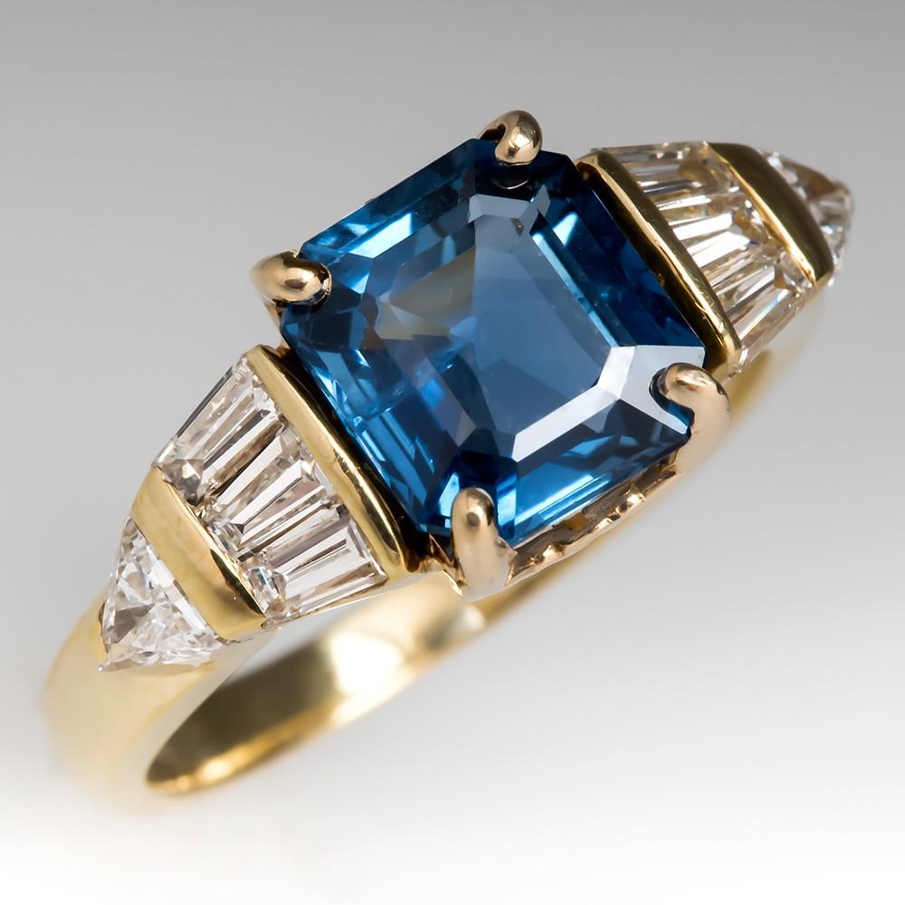 No Heat Emerald Cut Blue Sapphire Diamond Ring 18K