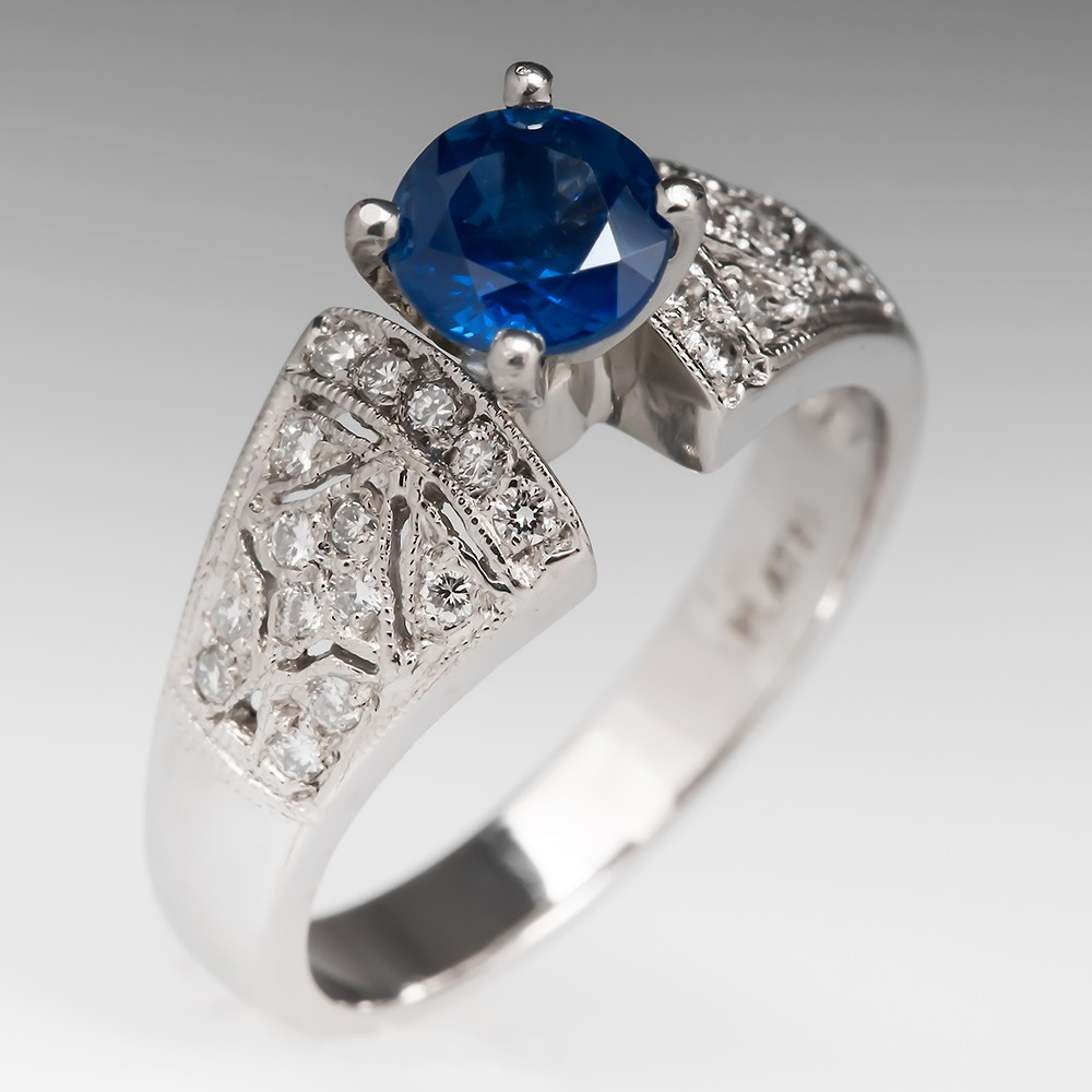 Natural Sapphire & Diamond Ring Platinum w/ Milgrain