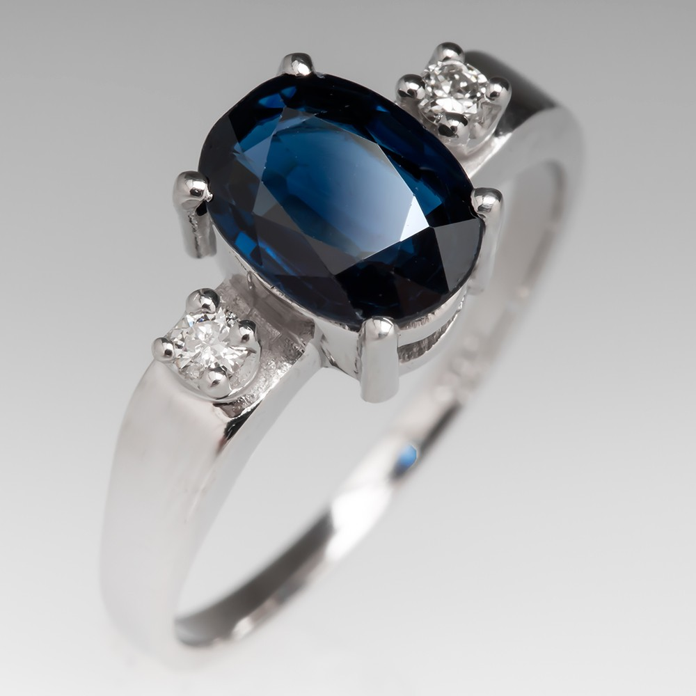 Natural Oval Sapphire Ring with Diamond Accents