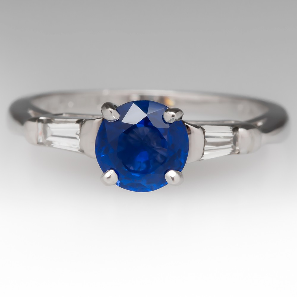 Classic Round Blue Sapphire w/Tapered Baguette Diamond Ring