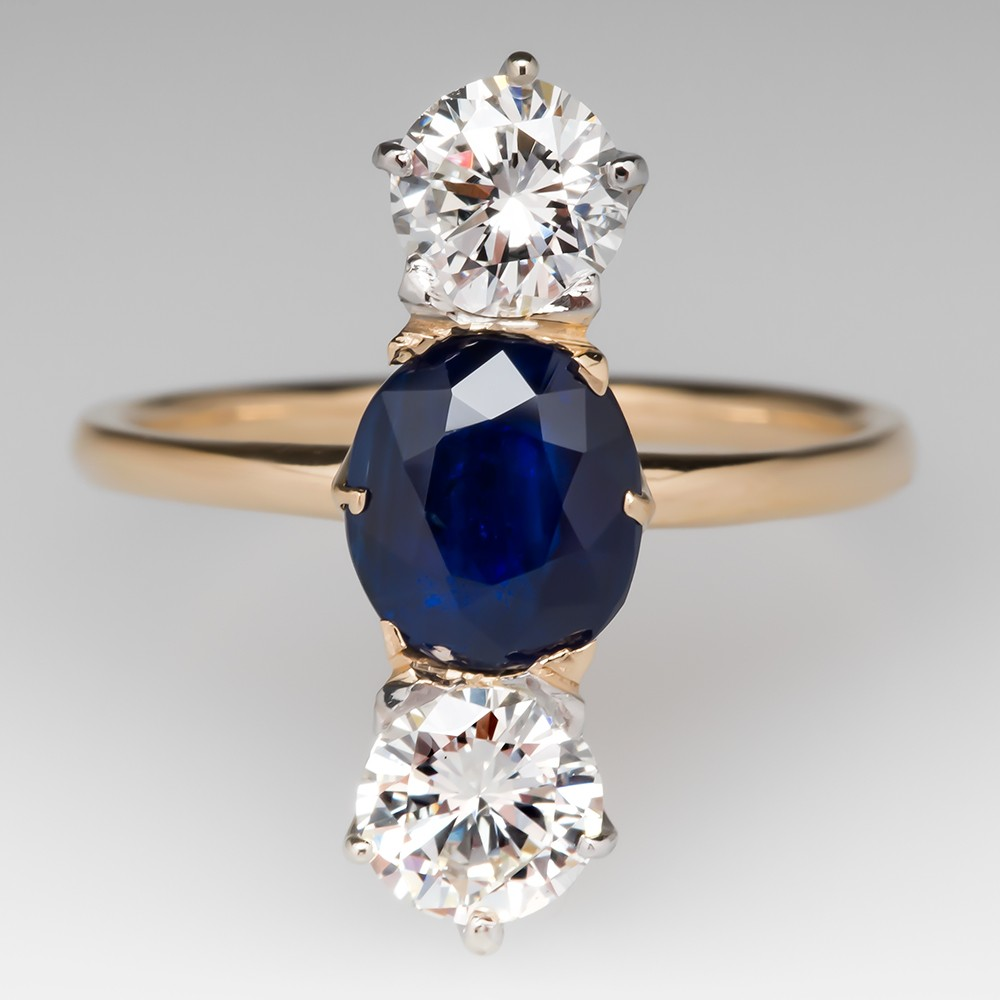 North to South Vintage Three Stone Sapphire Diamond Ring