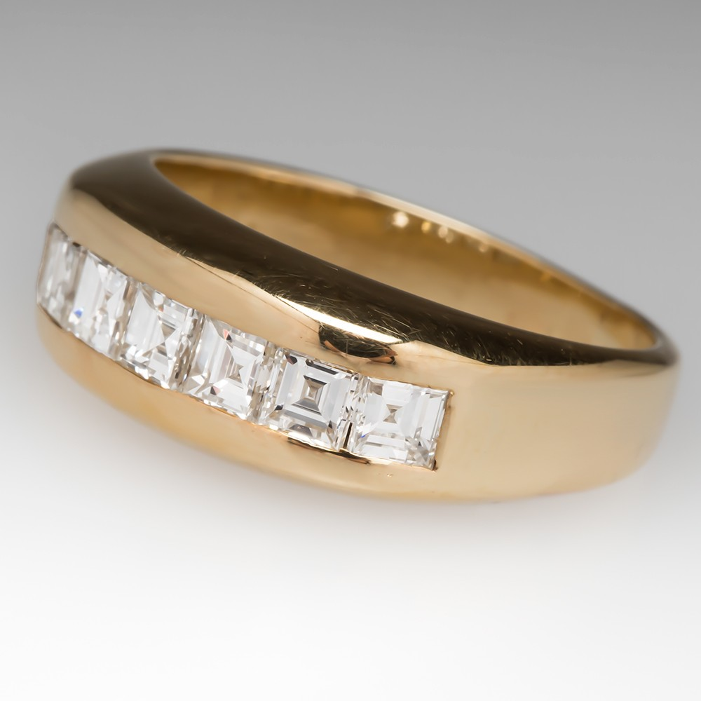 18K Square Diamond Band Anniversary/Wedding