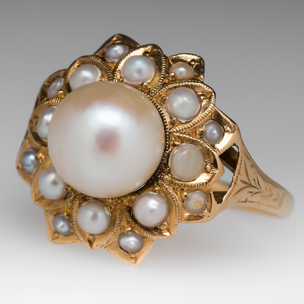 Floral Antique Pearl Ring