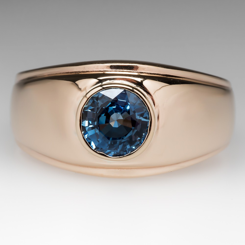Handsome Mens Bezel Set Blue Sapphire Ring