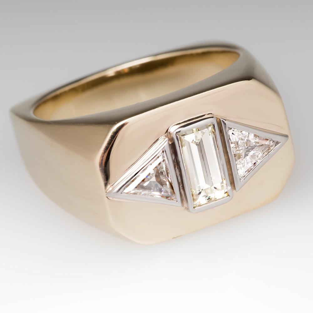 Mens Gold Bezel Diamond Three Stone Ring