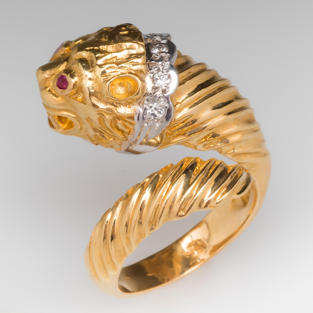 Ilias Lalaounis Lion Head Ring