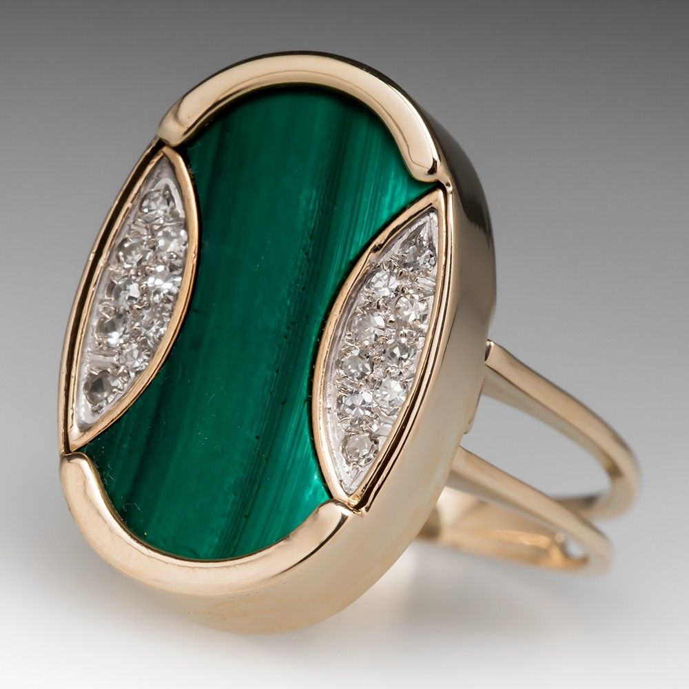 Retro 1960's Malachite Diamond Cocktail Ring