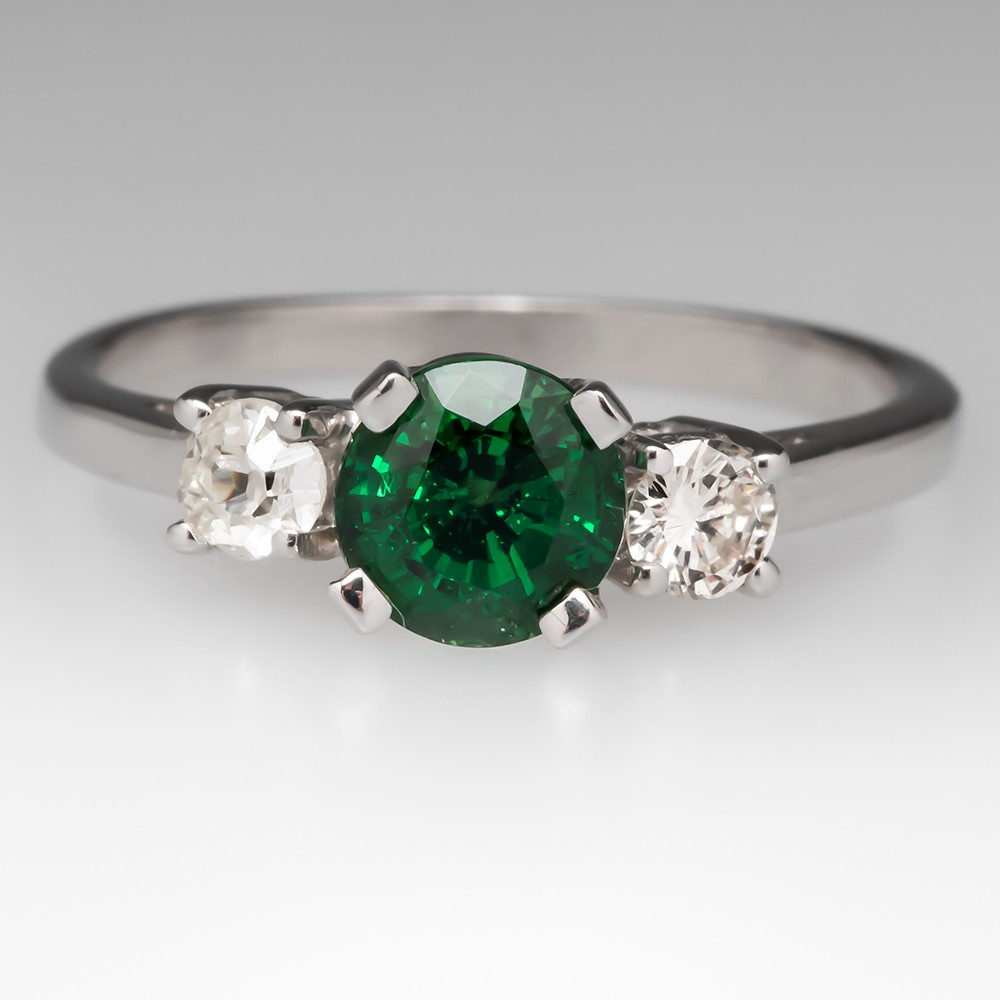 White Gold Tsavorite Garnet & Diamond Ring