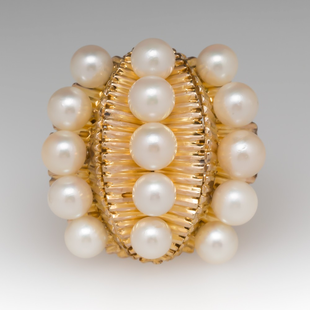 Vintage 1960's Pearl Leaf Design Cocktail Ring 10K