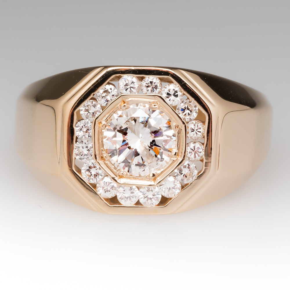 Vintage Mens 1 Carat Diamond Ring w/ Accents 14K