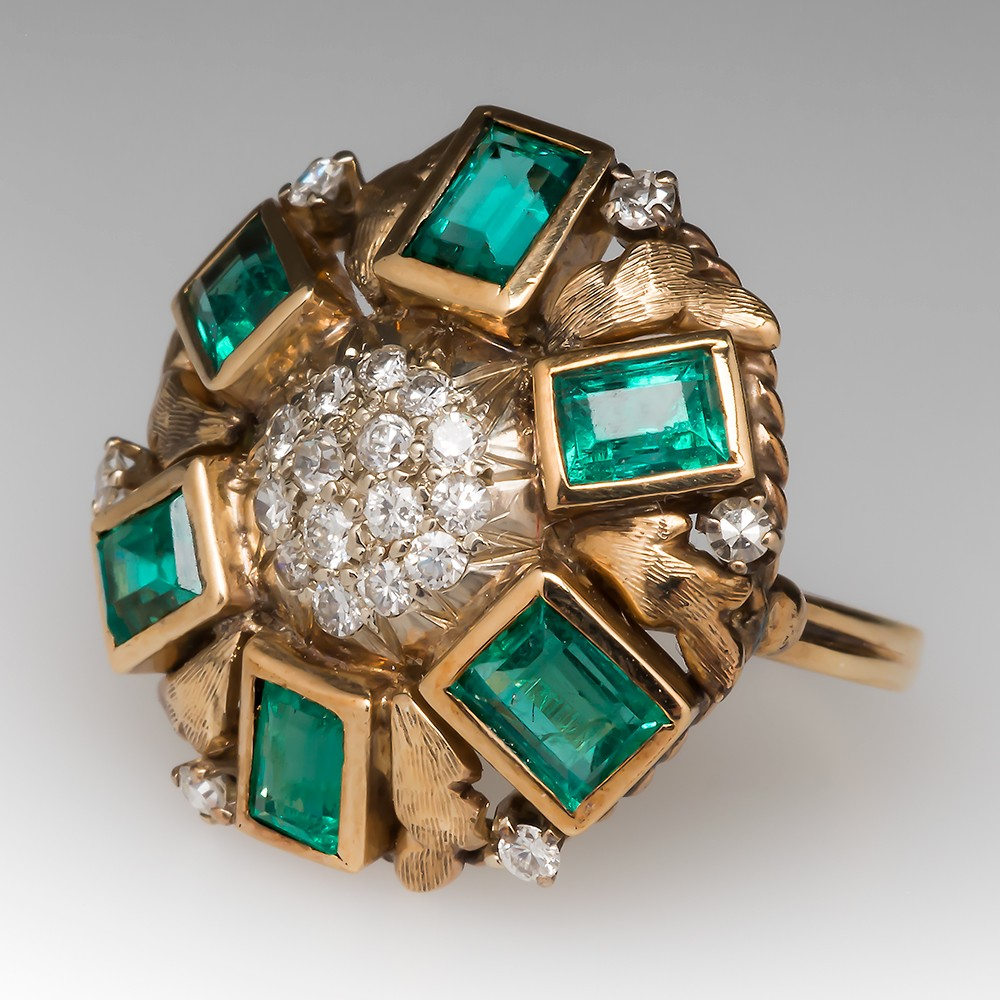 Vintage Emerald & Diamond Low Profile Dome Ring 14K