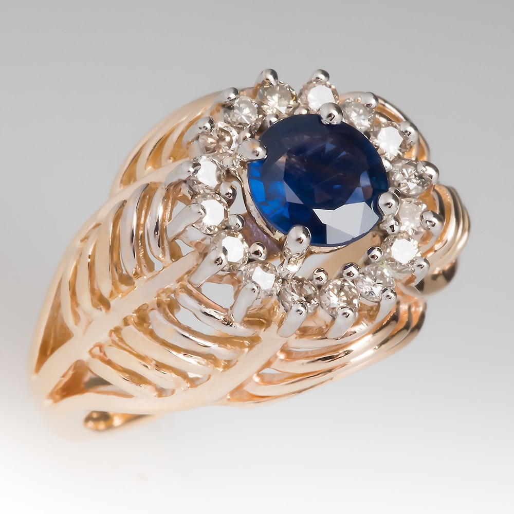 Blue Sapphire & Diamond Domed Ring 14K Yellow Gold