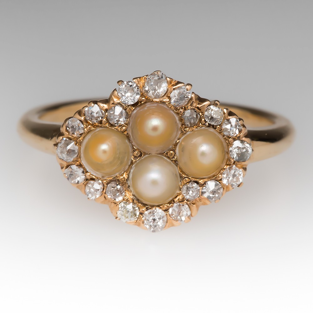 Natural Pearl & Old Diamond Victorian Era Ring 14K