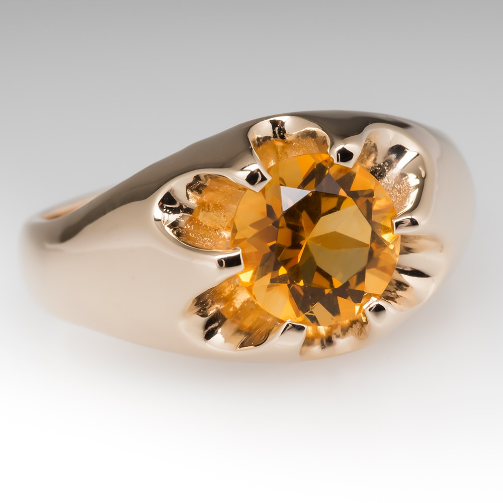 1970'S Mens Citrine Claw Ring 14K Yellow Gold