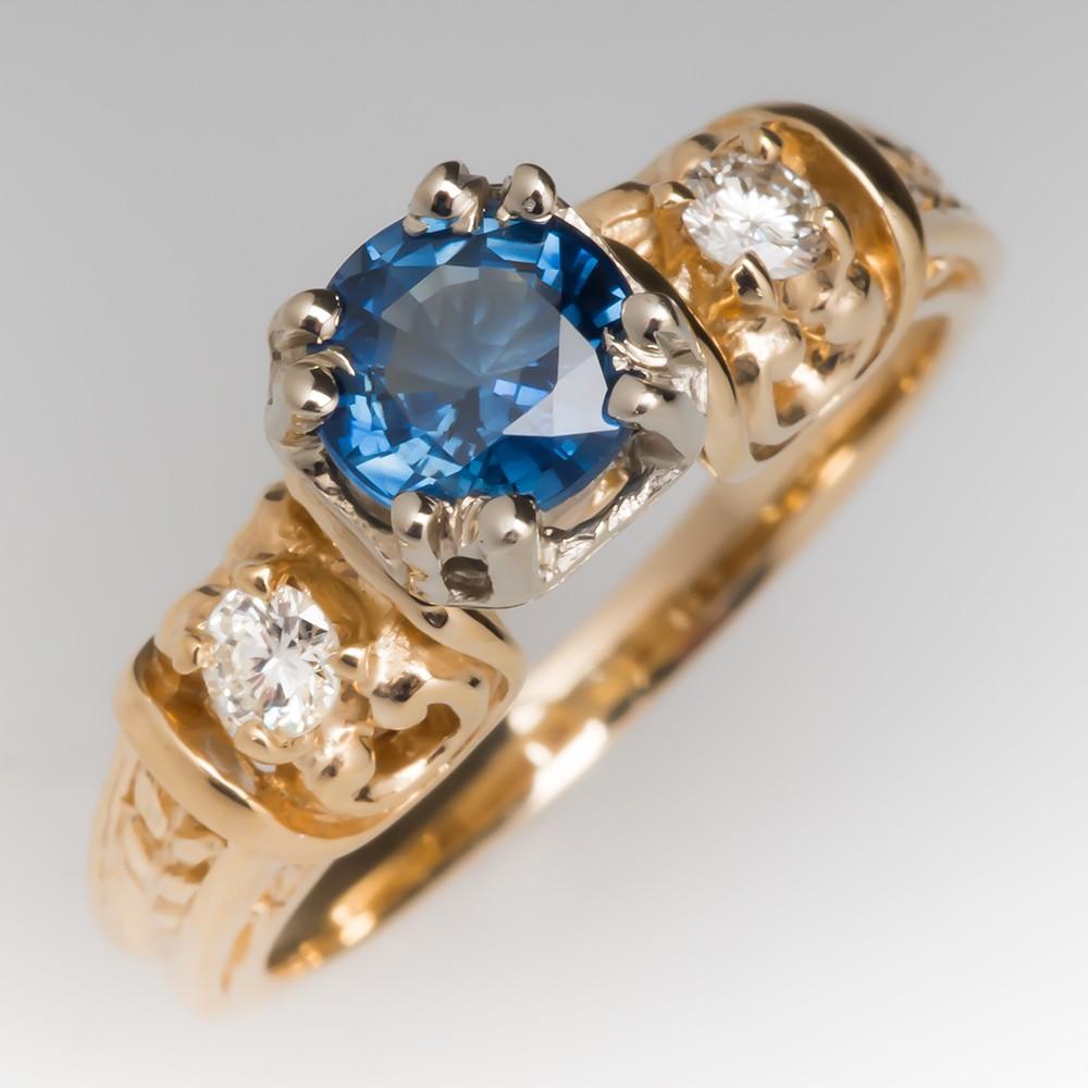 Unique Sapphire & Diamond Filigree Detailed 14K Yellow Gold Ring