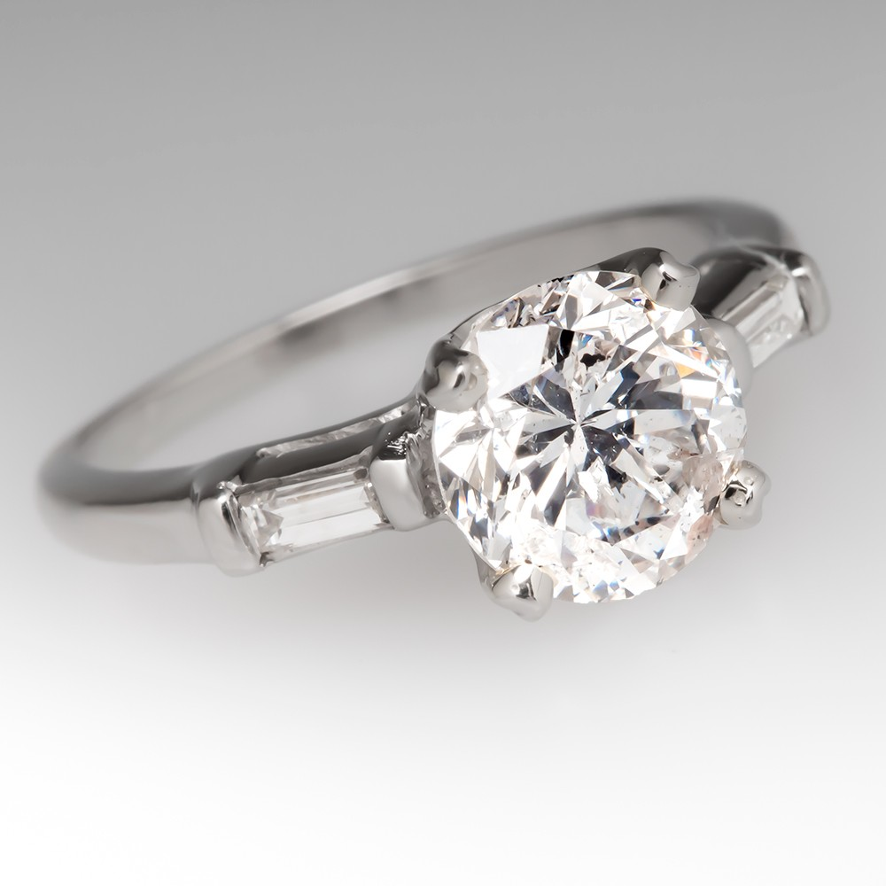 Vintage 1.55 Carat Diamond Ring w/ Baguette Accents in Platinum