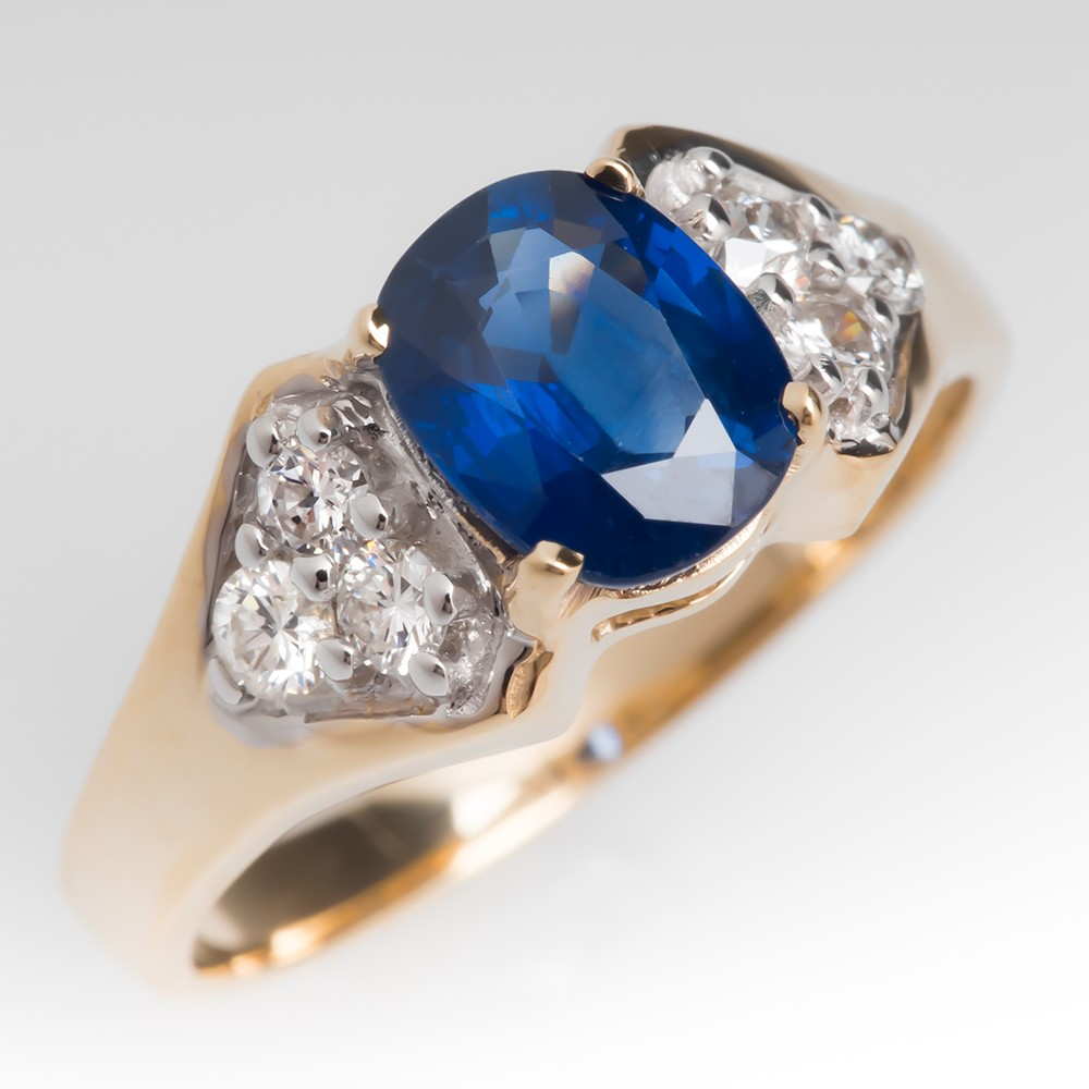 Low Profile Cushion Cut Blue Sapphire & Diamond Ring 14K