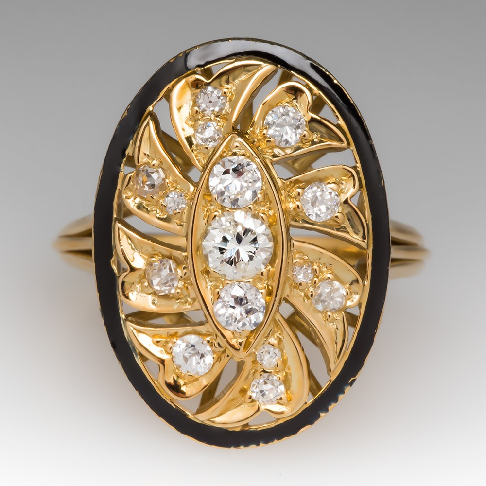 Diamond & Black Enamel 18K Yellow Gold Ring