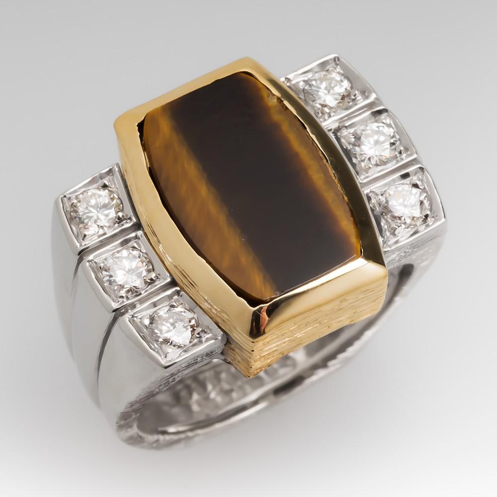Vintage Tiger's Eye & Diamond Cocktail Ring 18K Gold