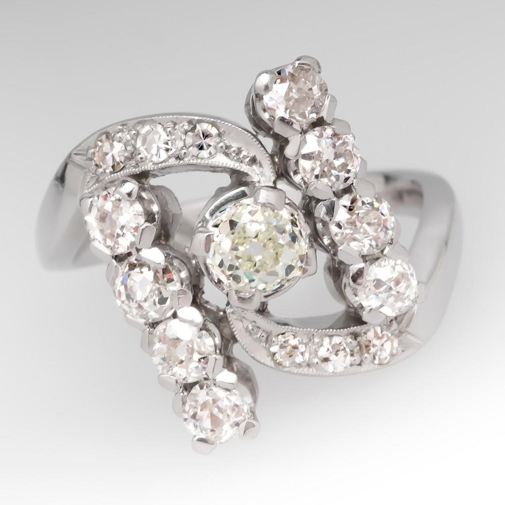 Vintage Old Mine Cut Diamond Bypass Style Platinum Ring