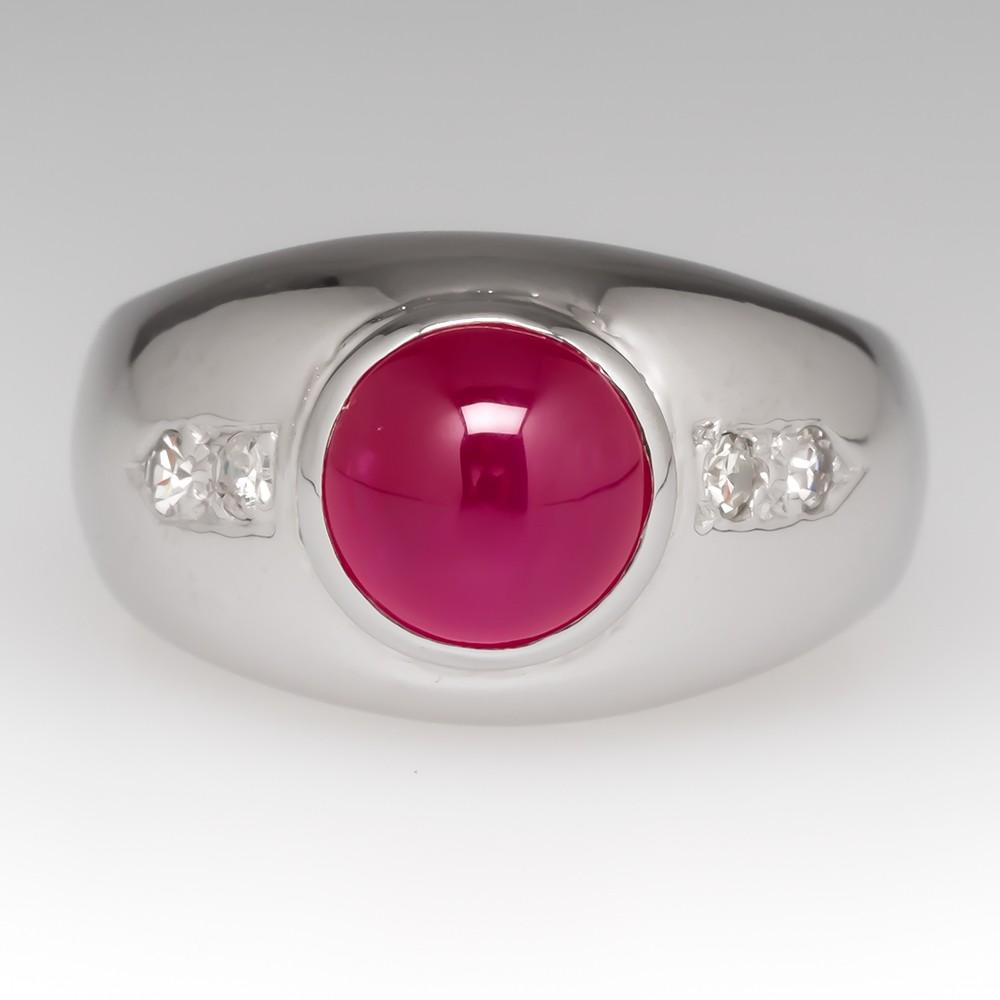 Unisex Round Ruby Cabochon & Diamond Ring 14K White Gold