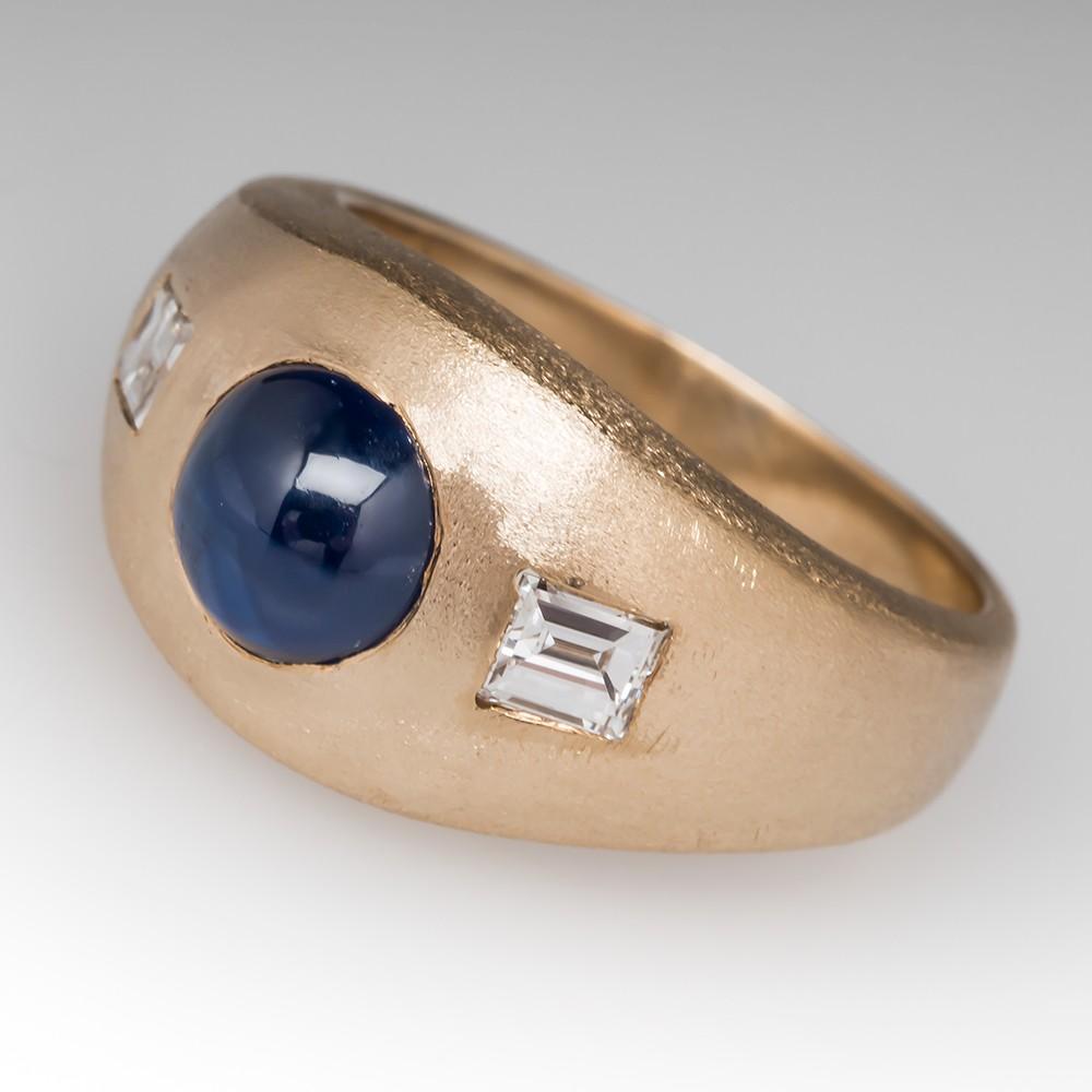 1970's Gypsy Set Mens Sapphire & Baguette Diamond Ring 14k Gold