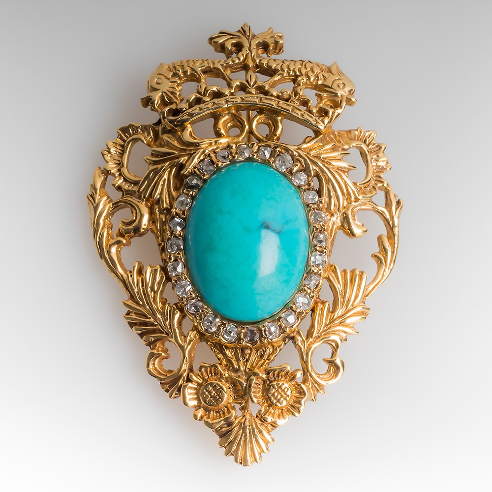 Turquoise & Diamond Brooch or Pendant 14K Yellow Gold
