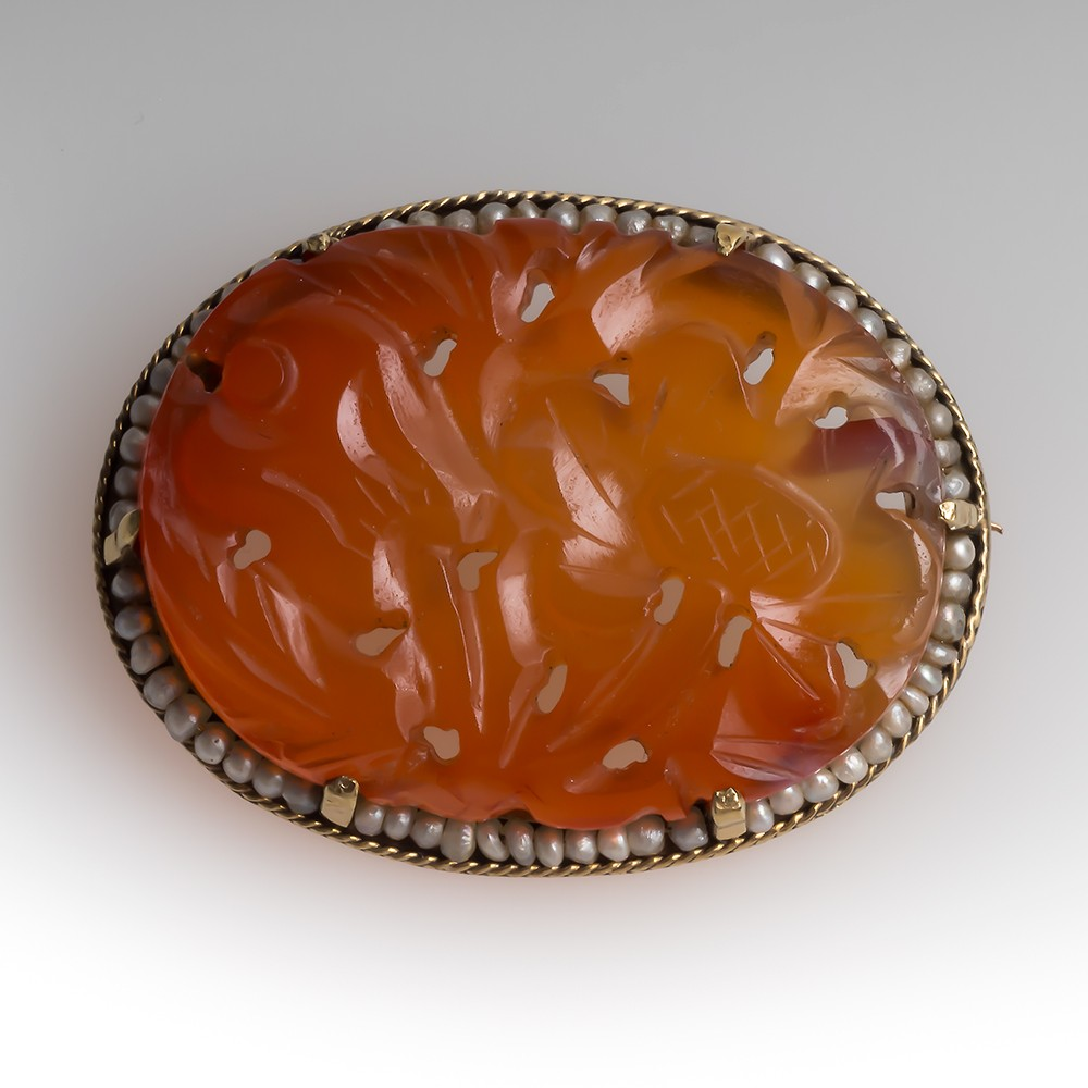 Vintage Carved Carnelian & Seed Pearl Brooch Pin 14K