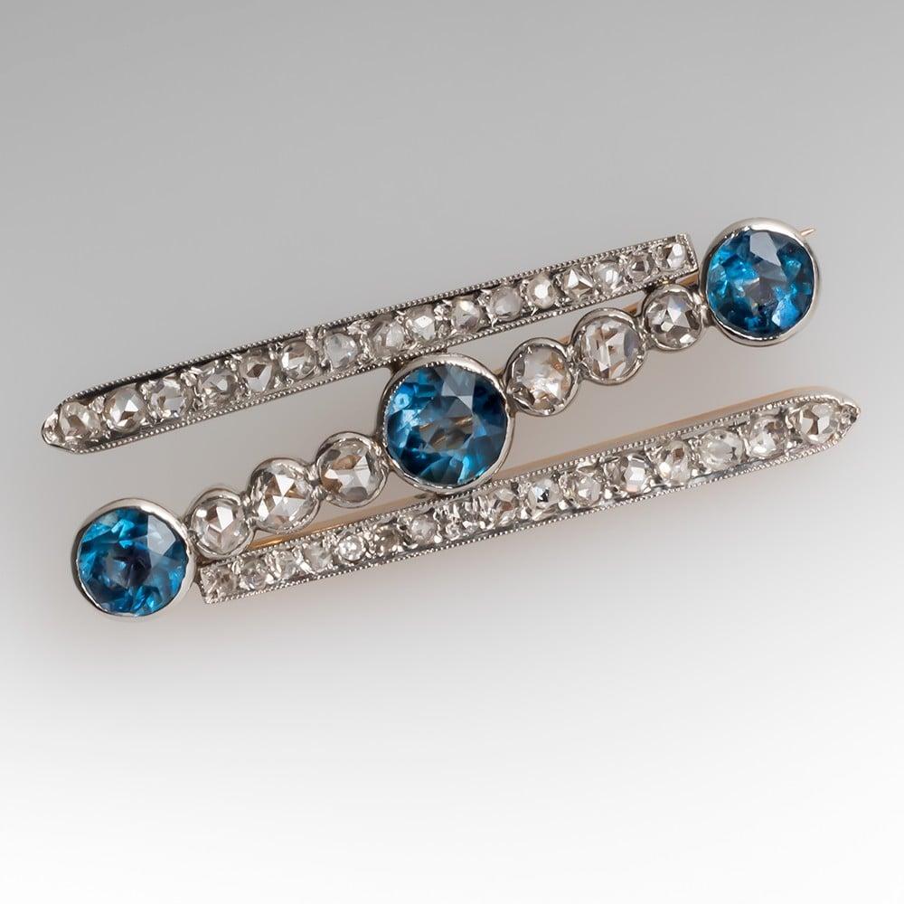Late Victorian Aquamarine & Rose Cut Diamond Brooch Pin 18K & Platinum