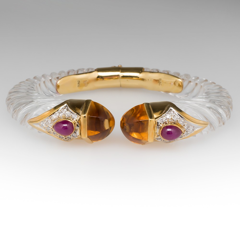 Mazza Acrylic 18K Gold Hinged Bangle Bracelet Citrine Ruby Diamond