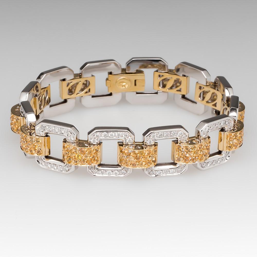 Yellow Sapphire & Diamond 7-Inch Fancy Link Bracelet 18K