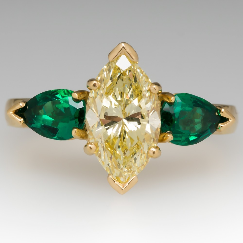 GIA 2.3 Carat Fancy Yellow Diamond Engagement Ring w/ Emerald Accents