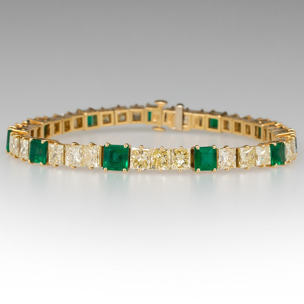 13 Carat Fancy Light Yellow Diamond & Green Emerald Tennis Bracelet 18K