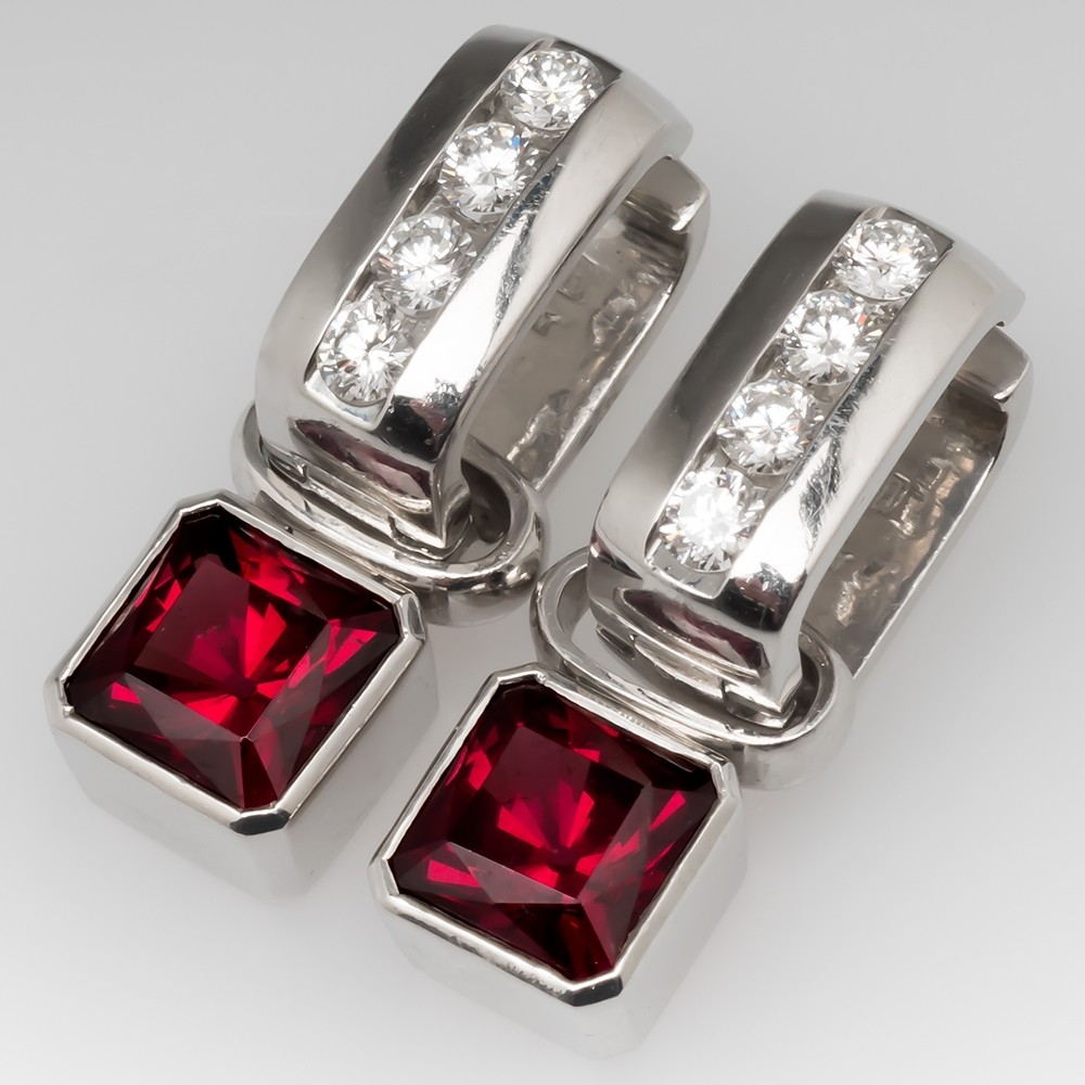Turgeon Raine Platinum Diamond Earrings Convertible Pearl Garnet Tourmaline