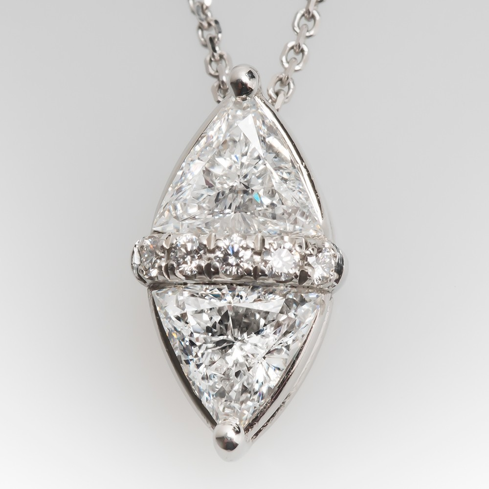Unique Triangle Diamond Pendant Necklace Platinum w/ 14K Chain