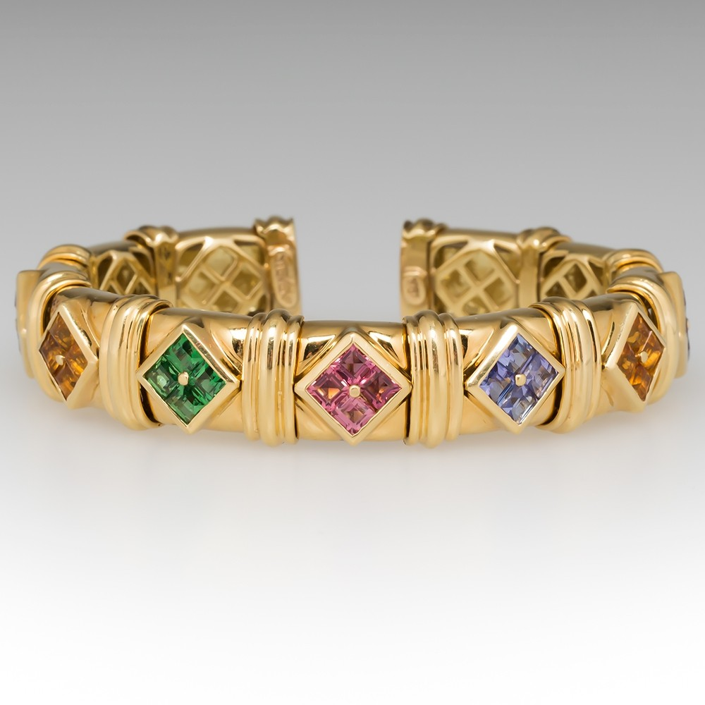Jeffrey Stevens Rainbow Gemstone Cuff Bracelet 18K Gold
