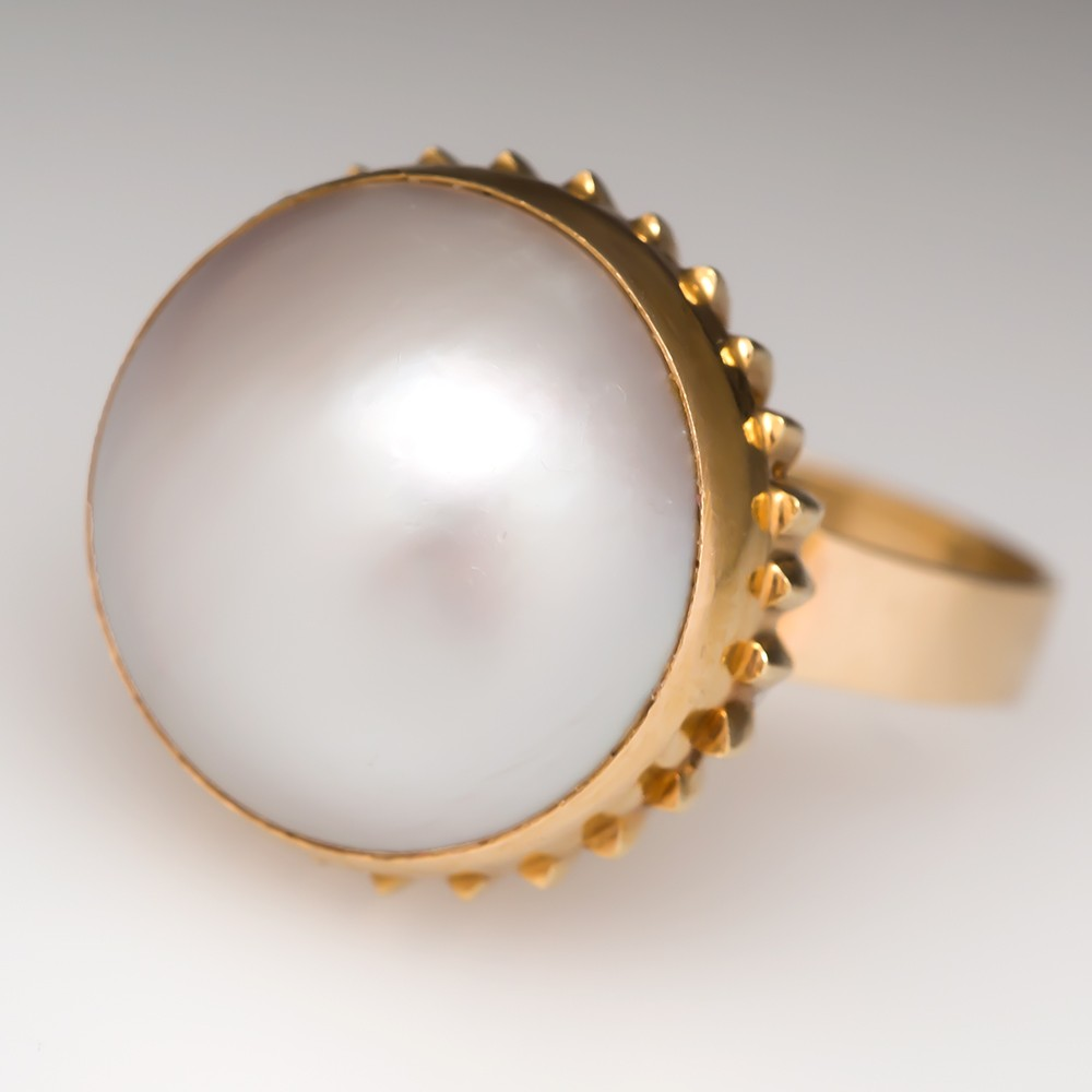 Mabe Pearl Cocktail Ring 14k