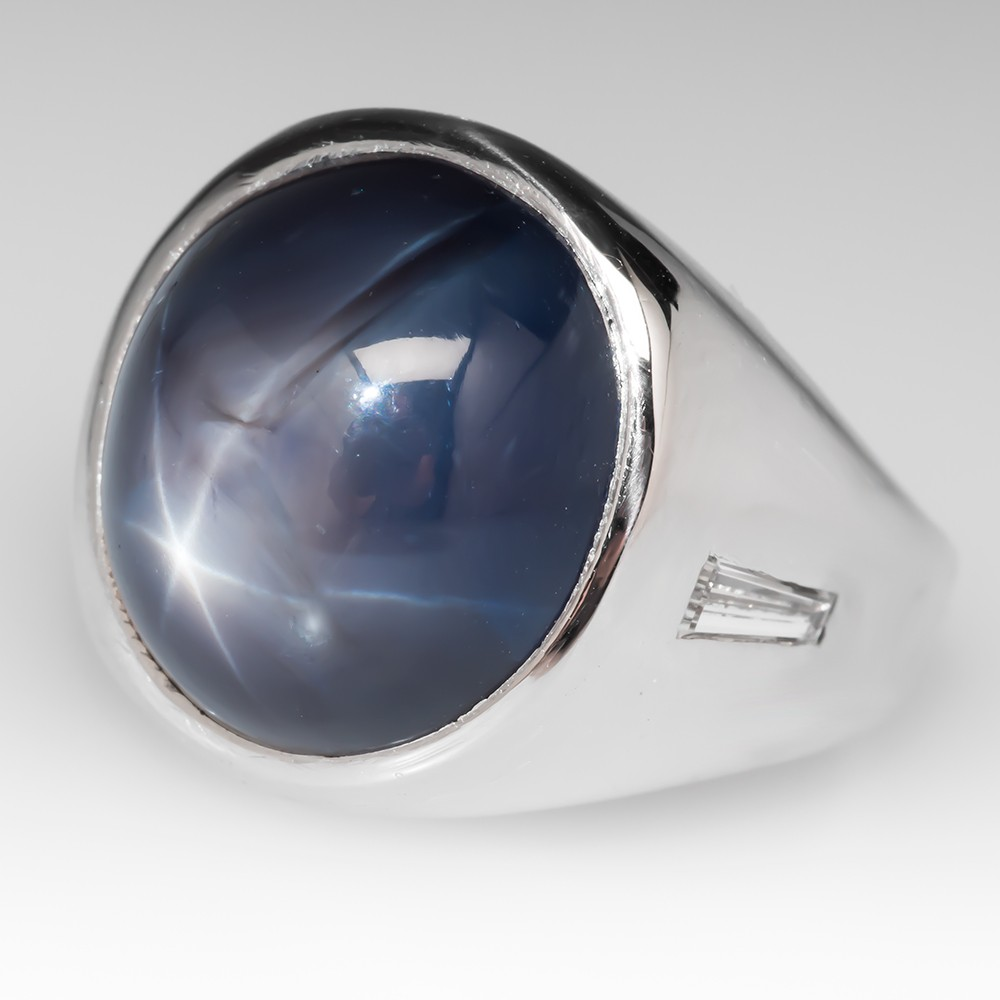 Mens 17 Carat Blue Star Sapphire Ring