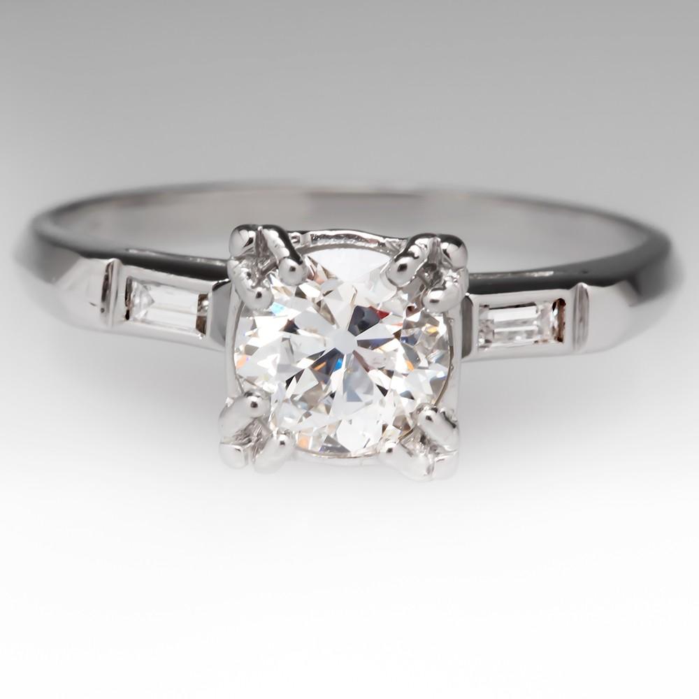 .80 Carat Old European Cut Diamond Antique Platinum Ring