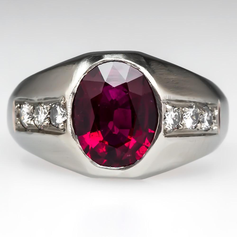 Mens Gypsy Set Tourmaline Ring