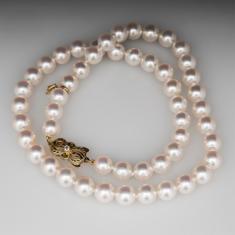 pearl yellow pearls clasp new necklace mikimoto jewelry a gold