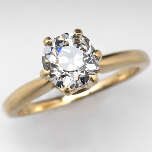 Old Mine Cut Diamond Ring 18K Gold Solitaire