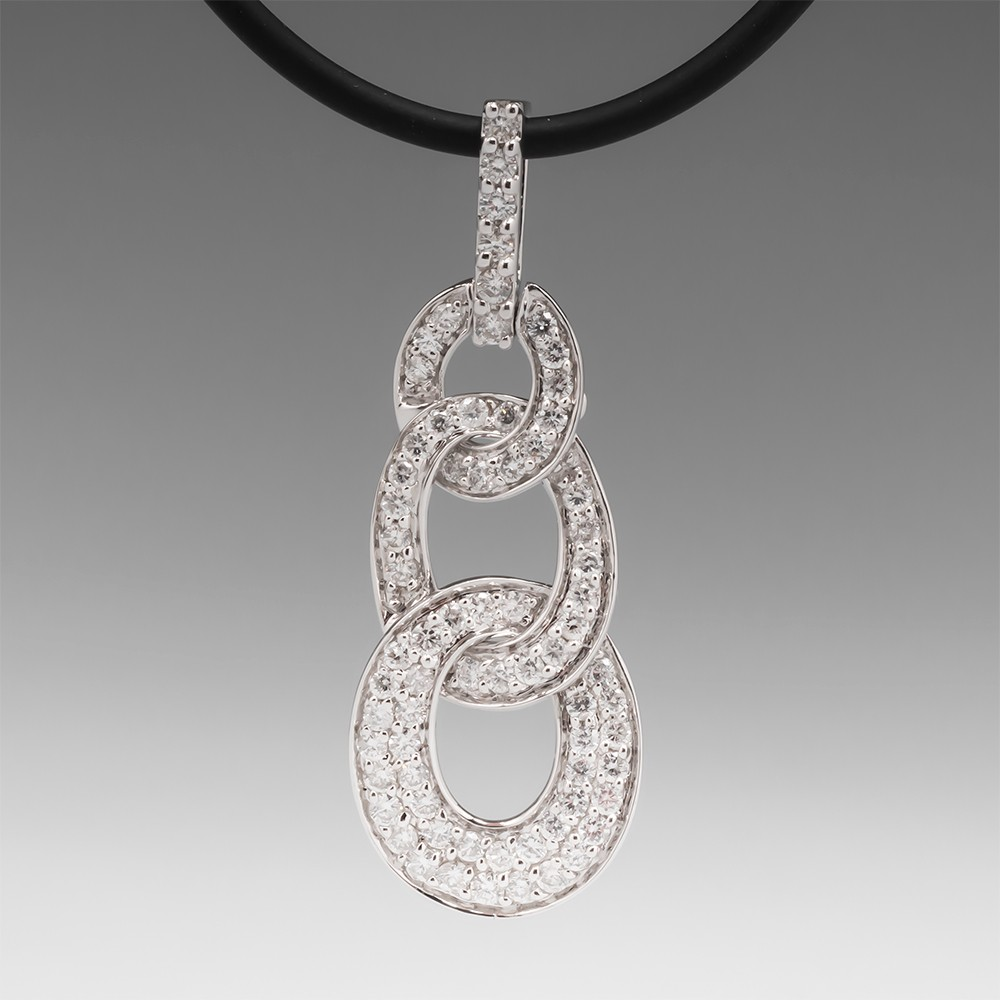 Diamond Three Loop Pendant Necklace 18K