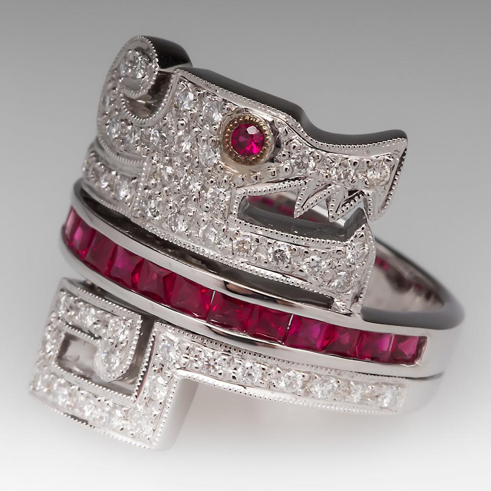 Ruby & Diamond Dragon Ring 14K