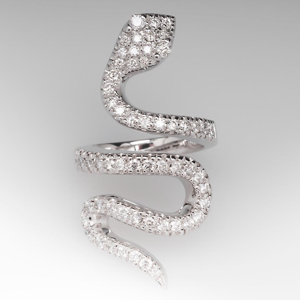 Sonia B Diamond Snake Coil Ring 14K