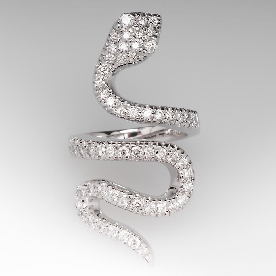 Sonia B Diamond Snake Coil Ring 14K